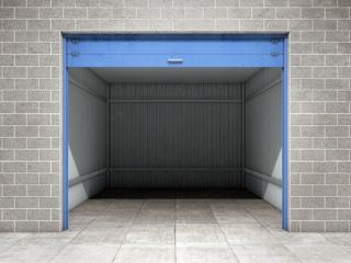 big storage units with blue gate in New Westminster